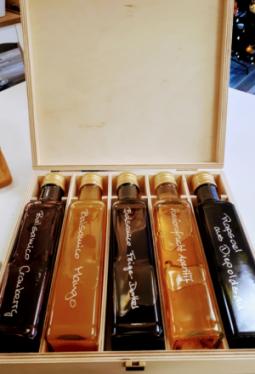Geschenkset 5x250ml Holzbox Crema Balsamica