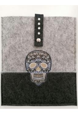 Tablet- Tasche Filz 26x22 cm mit Totenkopf